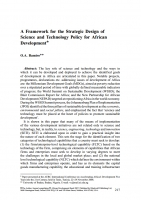 A Framework for the Strategic Design of Science and Technology Policy for African Development (O.A.Bamiro)