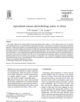 Agricultural science and technology policy in Africa(Omamoa)